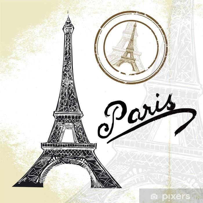 Aufkleber Frankreich Paris Hand Gezeichneten Eiffelturm Pixerstick