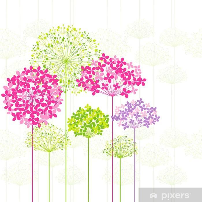 Vinyl-Fototapete Springtime Bunte Blumen auf Löwenzahn Hintergrund - Themen