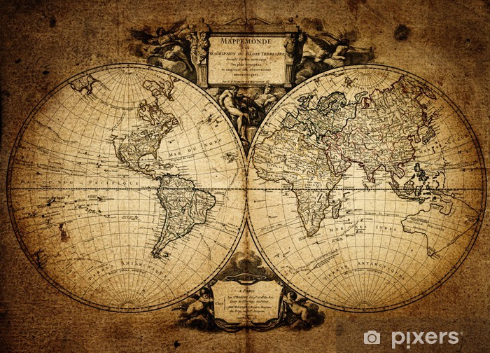 Vinyl-Fototapete Karte der Welt 1752 - Themen