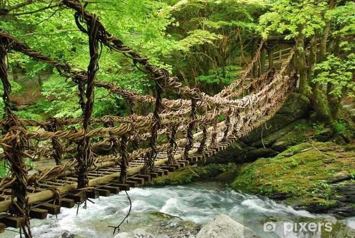 Pont de lianes et bambou Kazura-bashi à Oku Iya, Shikoku Pixerstick Sticker - Themes