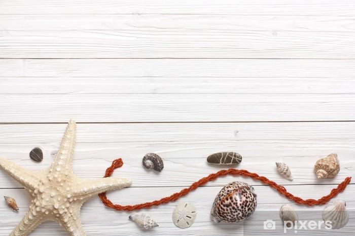 Carta Da Parati Stella Di Mare Conchiglie E Pietre Sfondo Bianco In