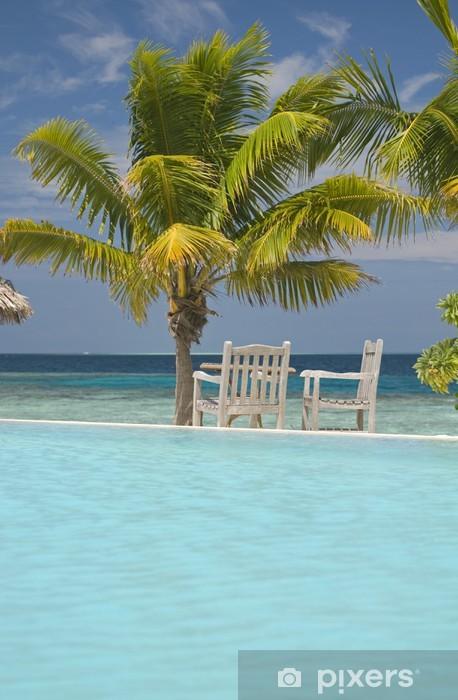 Sticker Pixerstick Piscine à Maldives - Vacances