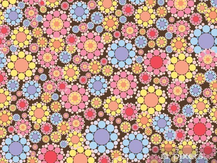 Naklejka Pixerstick Pastelowo różowe i niebieskie kwiaty, śnieg, wzór -