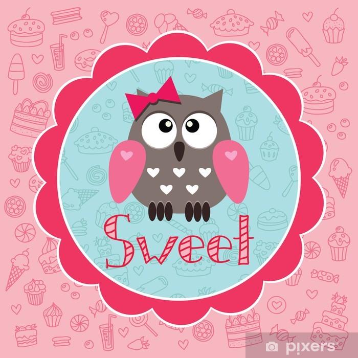 Sticker Pixerstick Carte de bébé avec owlet mignon sur le fond de bonbons - Destin