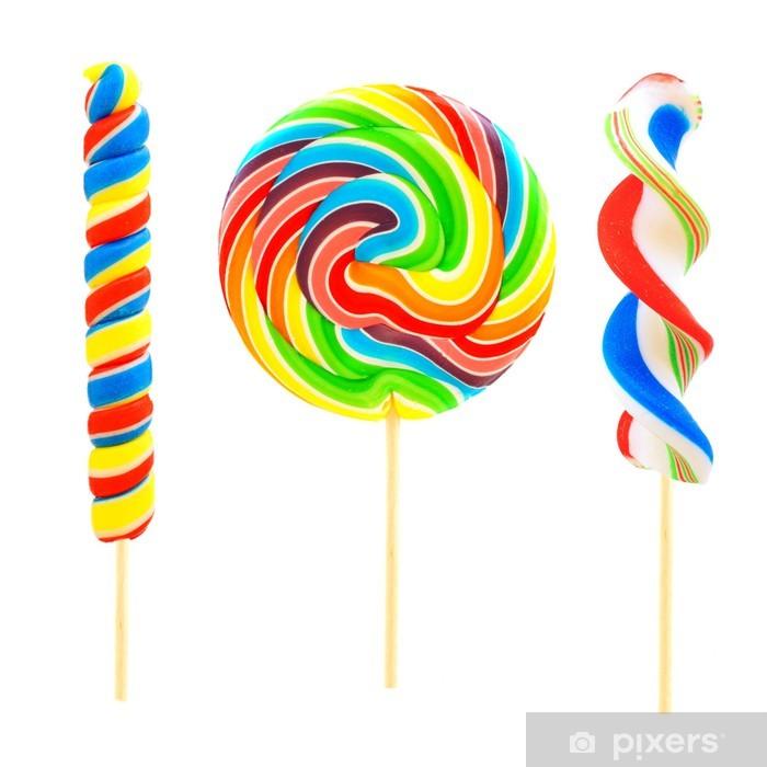 Papier peint vinyle Trois bonbons sucettes uniques isolés sur fond blanc - Desserts et friandises