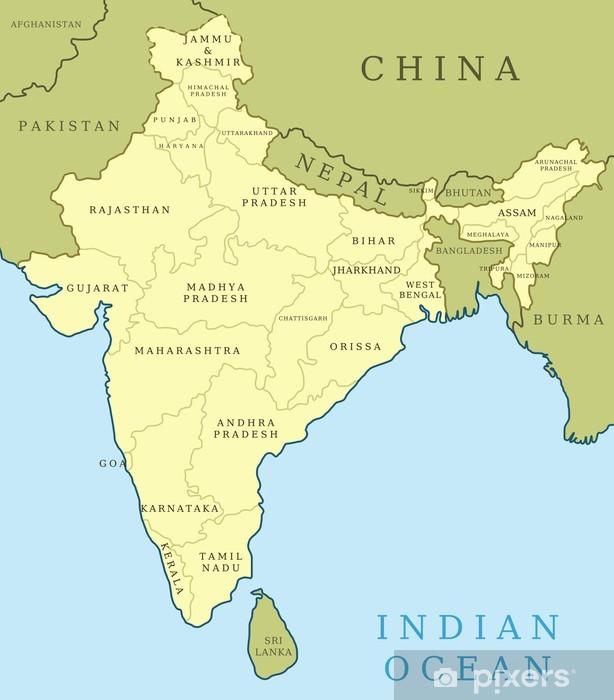 Fototapet Indien Karta Vektor Med Provinser Pixers Vi Lever