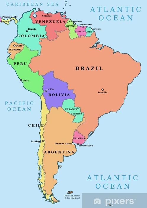 Fototapeta Ameryka Poludniowa Kolorowe Wektorowa Mapa Polityczna