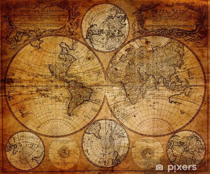 Afwasbaar Fotobehang Oude kaart (1746) -