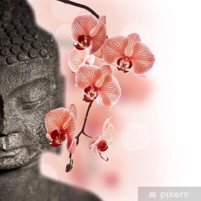 Papier peint vinyle Bouddha et orchidée rouge - Styles