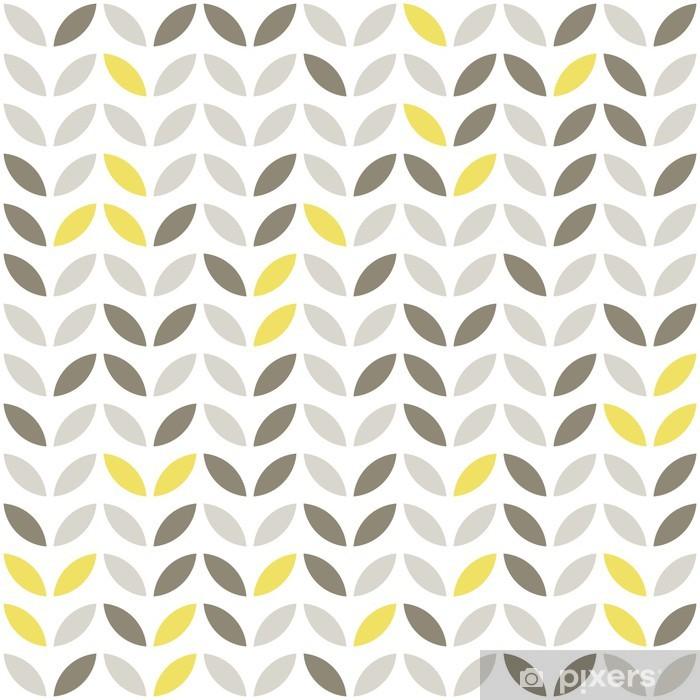 Vinyl Fotobehang Plantaardige patroon retro grijs en gele bladeren op witte achtergrond - Seizoenen