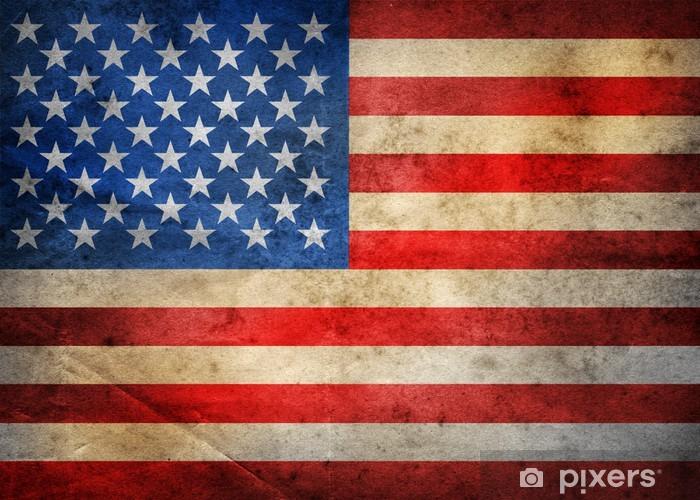 Koc pluszowy Grunge USA flag - Flagi narodowe