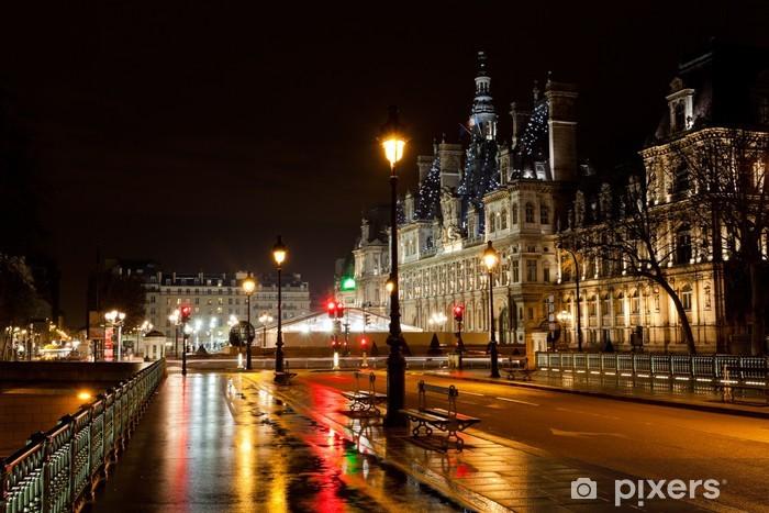 Vinilo Pixerstick Ayuntamiento de París en la noche - Temas