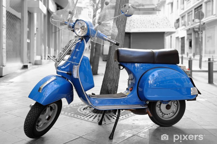 Aufkleber Italienische Roller Im Retro Stil Auf Bürgersteig Geparkt In Athen Pixerstick