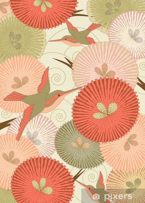 Carta Da Parati Modello Ornamentale Con Gli Uccelli E Fiori In Stile