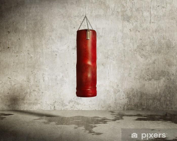 Papier peint vinyle Sale de la salle de formation d'arts martiaux, sac de boxe rouge - Thèmes