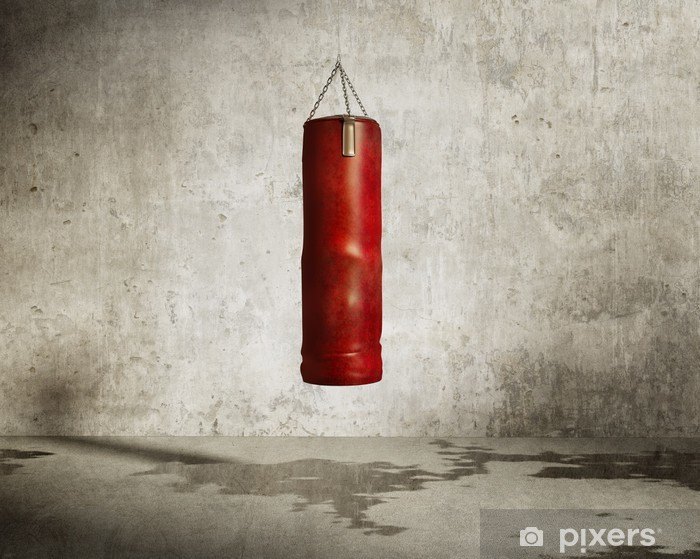 Grungy martial arts training room, red boxing bag Pixerstick Sticker - Themes