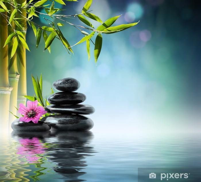 Fotomural Estándar Piedra negro de la torre y de hibisco con bambú en el agua - Temas