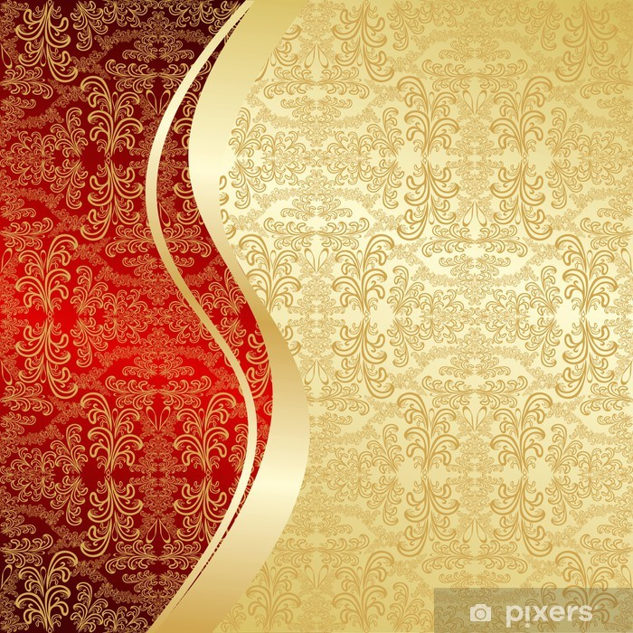 Luxury Background Decorated A Vintage Pattern Gold And Red Door Sticker