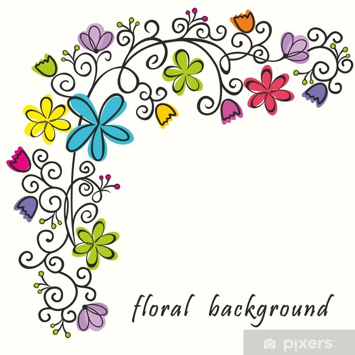 Floral border. Summer background. Vinyl Wall Mural - Happiness