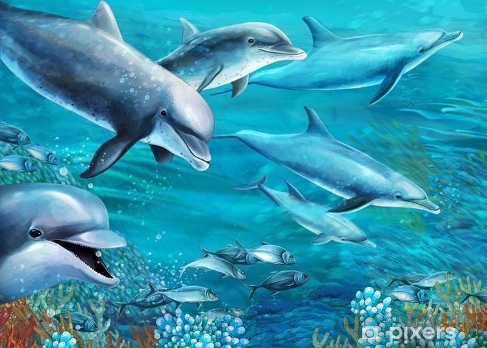 Vinyl Fotobehang Het koraalrif - illustratie voor de kinderen - Koraalrif