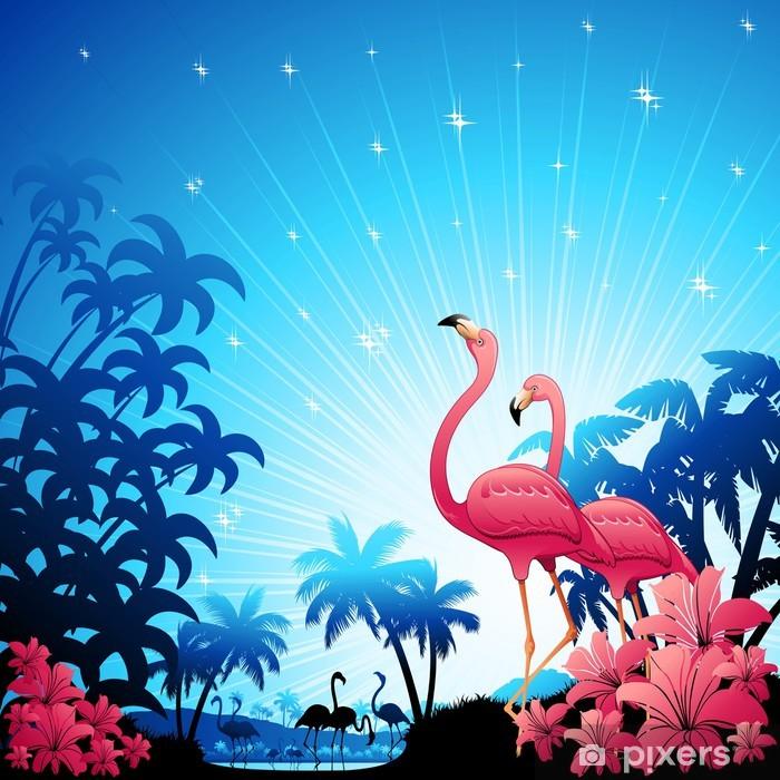 Pixerstick Dekor Pink Flamingos på Blue Tropics-Fenicotteri Rosa - Teman