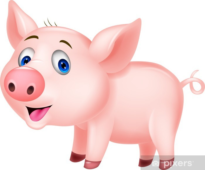 Cute pig cartoon Vinyl Wall Mural - Mammals
