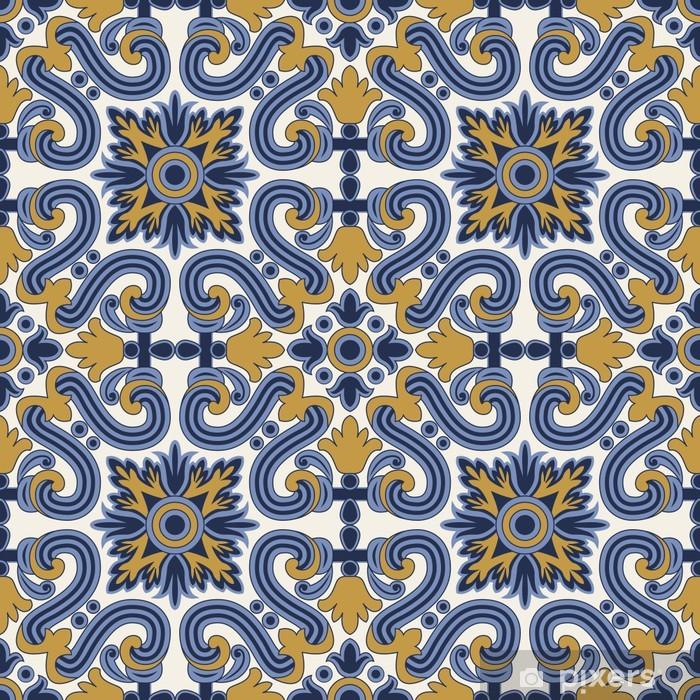 Papier peint vinyle Classique seamless millésime en bleu et jaune - Arrière plans