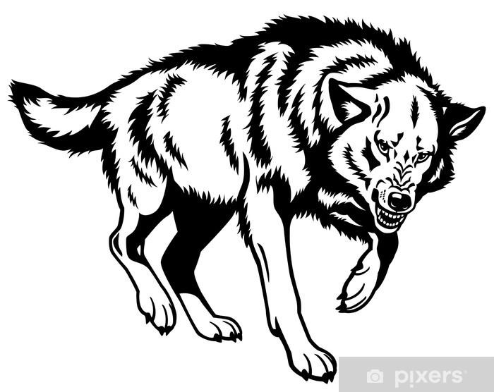Wolf Clipart Schwarz Weiß