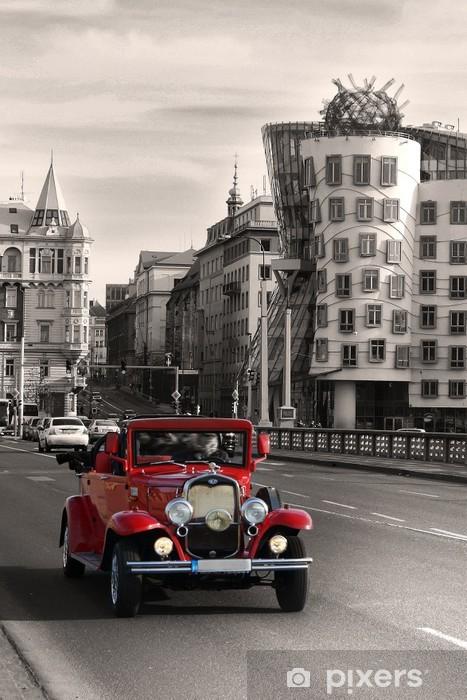 Red beautiful vintage cars in Prague Vinyl Wall Mural - Prague