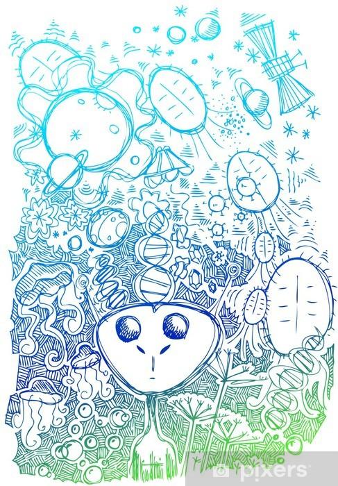 Fototapeta Utrzkovite Doodle Kresleny O Zivote Ve Vesmiru Pixers