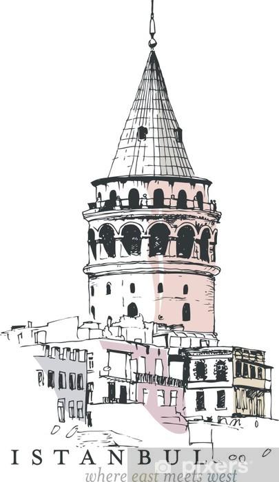 Fototapeta winylowa Galata Tower Drawing - Bliski Wschód