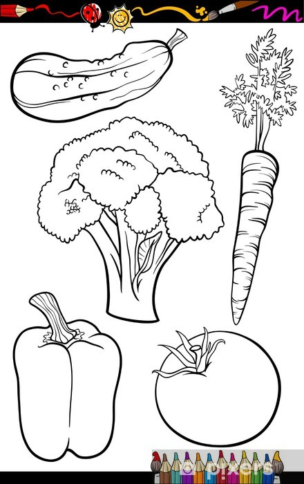 Cartoon Vegetables Set For Coloring Book Wall Mural Pixers We