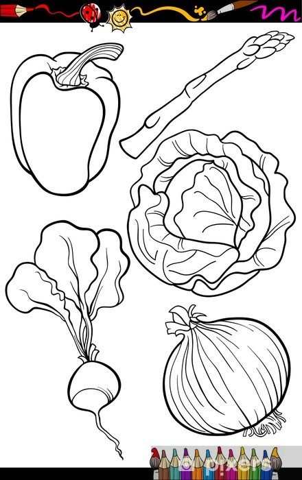 Karikatür Sebze Boyama Kitabı Için Belirlenen Duvar Resmi Pixers