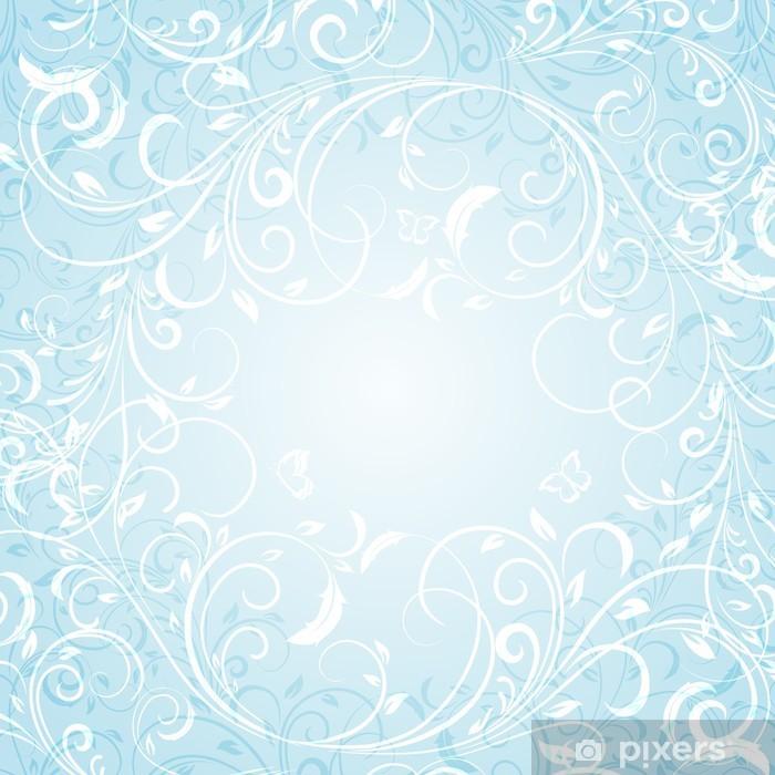 Plakat Blue Floral Background - Tła