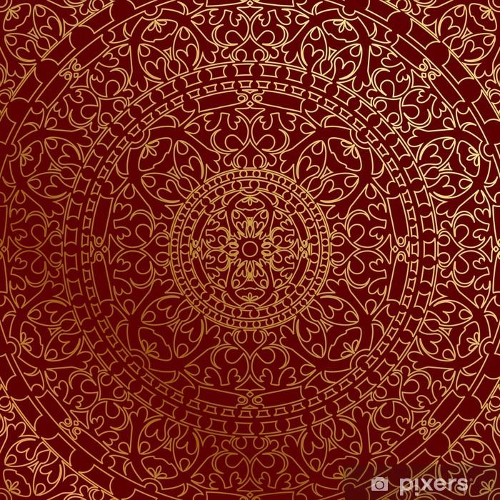 Plakat w ramie Wektor orientalne niebieskie tło z ornamentem złota - Tematy