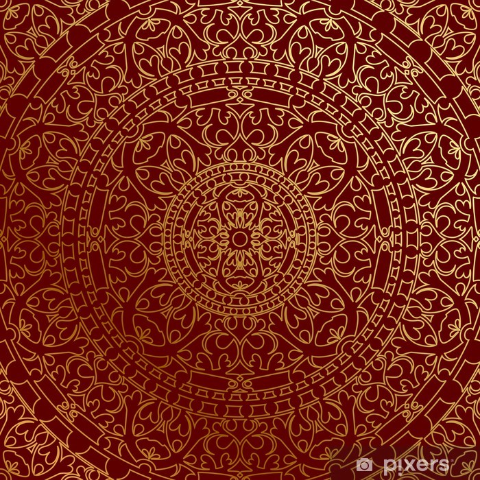 Vector oriental blue background with gold ornament Vinyl Wall Mural - Themes