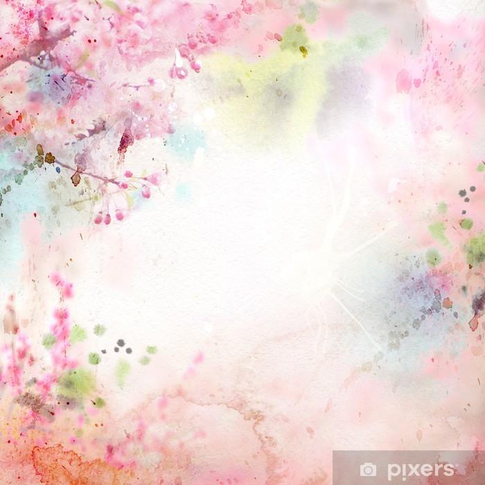 Vinyl Fotobehang Schilderachtige aquarel achtergrond, bloemige samenstelling Sakura - Stijlen