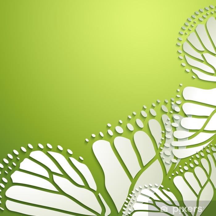 Pixerstick Aufkleber Abstrakter Hintergrund mit grünen Schmetterlingen - Jahreszeiten