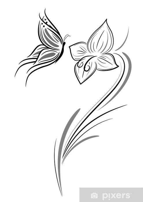 Farfalla Con Fiore Tattoo Wall Mural Pixers We Live To Change
