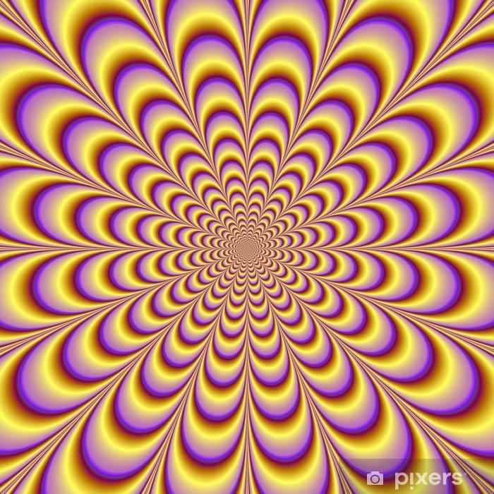 Nálepka Pixerstick Rosette ve žluté a lila - Abstraktní