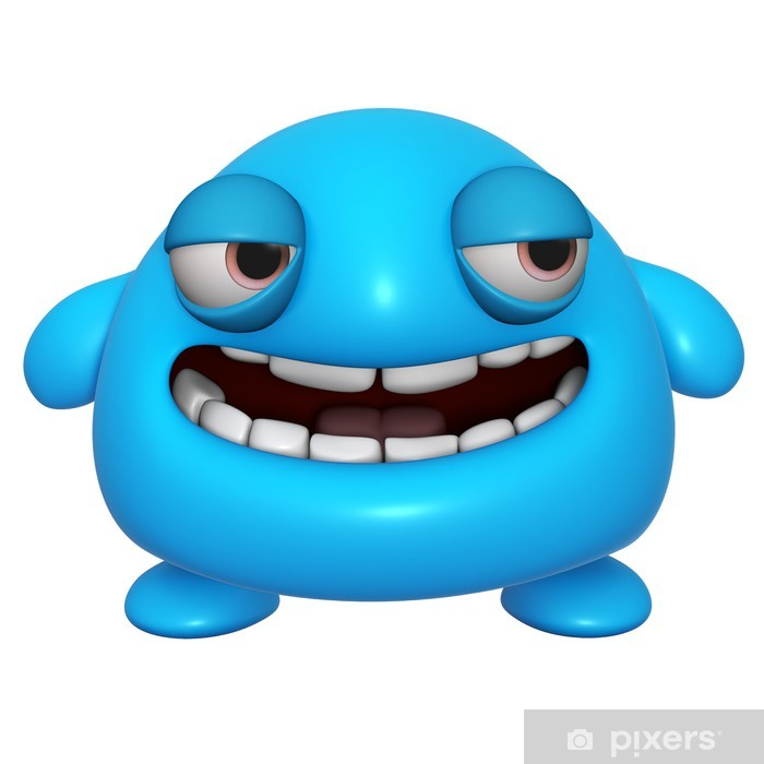 5b7fb9cde0b 3d cartoon cute blue monster Poster • Pixers® • We live to change