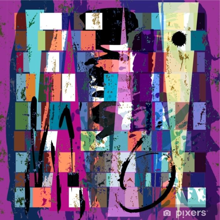 Nálepka na sklo a okna Abstraktní pozadí, s čtvercemi, trojúhelníkem, barvami a s - Koníčky a volný čas