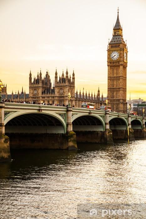 Vinyl Fotobehang Big Ben Clock Tower en het Parlement huis bij City of Westminster, - Thema's