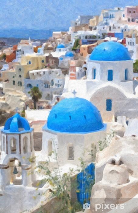 Fototapeta winylowa Malarstwo Olej Santorini - Europa