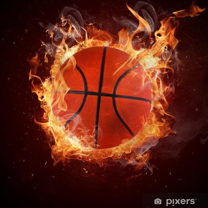 Papier peint vinyle Basket-ball chaud dans la flamme de feux - Basket-Ball