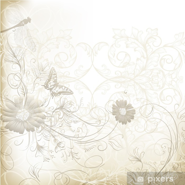 Elegant Clear Wedding Background With Floral Ornament Poster