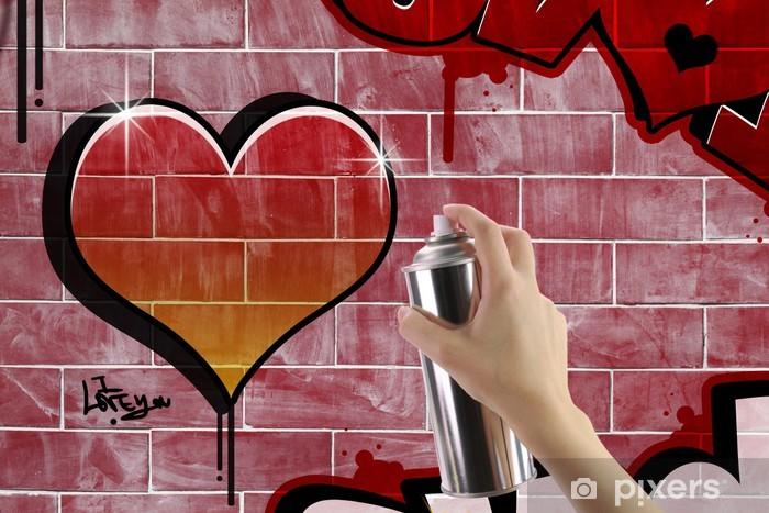 Vinylová fototapeta Srdce graffiti na cihlové červené zdi - Vinylová fototapeta