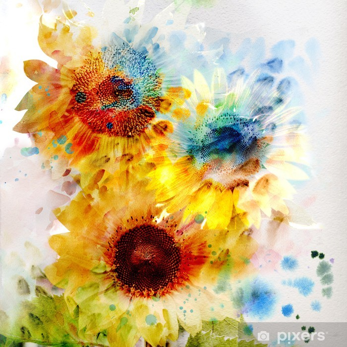 Watercolor sunflowers Washable Wall Mural - Themes