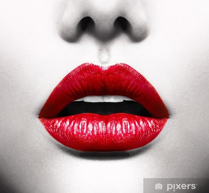 Papier peint vinyle Sexy Lips. Image conceptuelle avec Vivid bouche ouverte rouge -