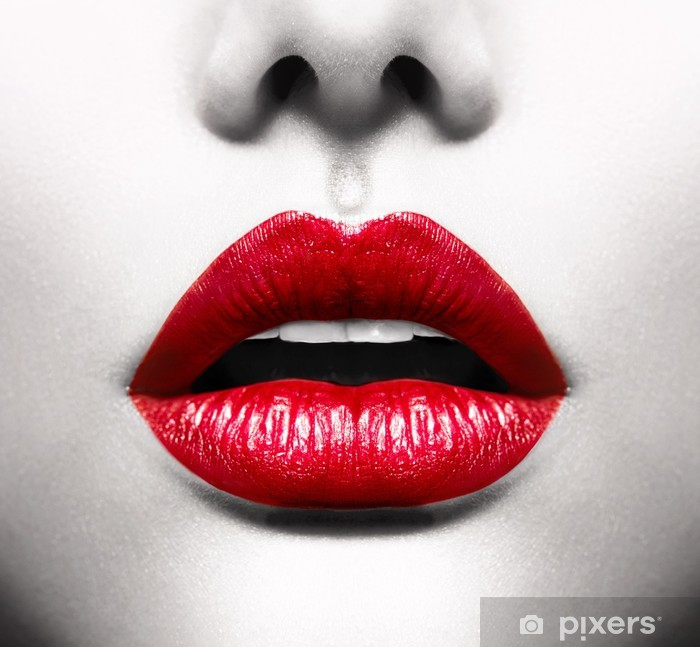 Sexy Lips. Conceptual Image with Vivid Red Open Mouth Vinyl Wall Mural -